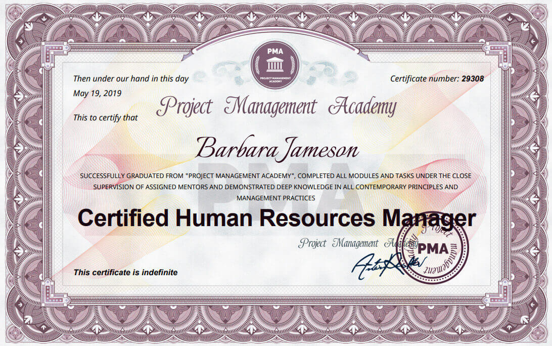 Сертификат и курс за Human Resources Manager